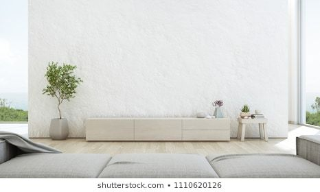 Sea View Living Room Of Luxury Summer Beach House With Tv Stand And Wooden Cabinet Empty Rough White Concret Luxury Living Room Summer Beach House Living Room