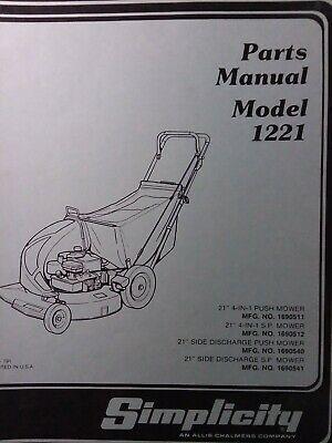 Simplicity 1221 Walk Behind 21 Rotary Lawn Mower Parts Catalog Manual 1690511 In 2020 Rotary Lawn Mower Walk Behind Lawn Mower Parts