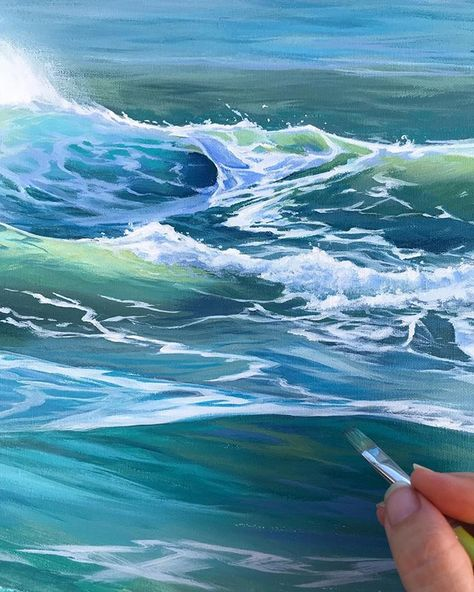 Painting waves and the ocean - See more at juliekluh.com #oceanart