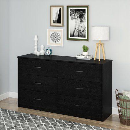 Mainstays 6 Drawer Dresser Black Oak Walmart Com Storage