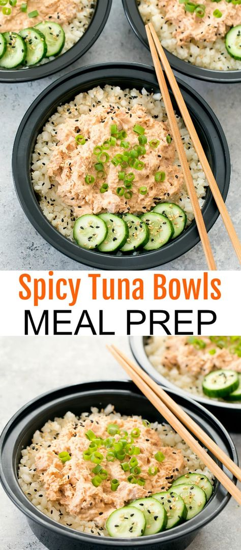 An easy, low carb version of spicy tuna rice bowls that can be made ahead for your meal prep. An easy, low carb version of spicy tuna rice bowls. These can be made ahead of time for your meal prep. Clean Recipes, Rice Recipes, Easy Healthy Recipes, Lunch Recipes, Seafood Recipes, Cooking Recipes, Meal Prep Recipes, Dinner Recipes, Thm Recipes