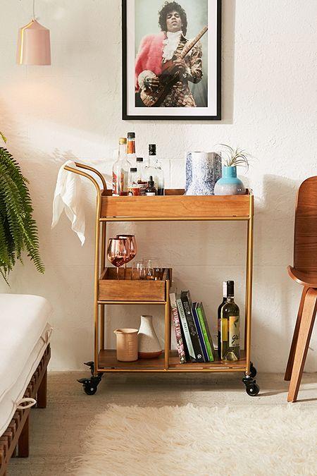 Mid Century Fold Out Desk Bar Cart Decor Bar Furniture Gold Bar Cart