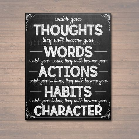 Classroom Printable Poster - Thoughts Words Actions Character Motivational Decor