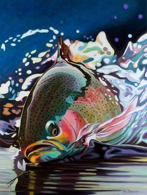 "Photo of AD Maddox Fly Fishing Art ""Running Rainbow"" | MidCurrent"