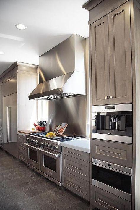 Gray Wash cabinets with White Quartz Counters - Contemporary - Kitchen