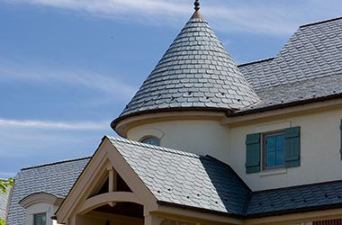Majestic Slate Synthetic Slate Roofing Tiles Ecostar In 2020 Spanish Colonial Homes Colonial House Plans Slate Roof House