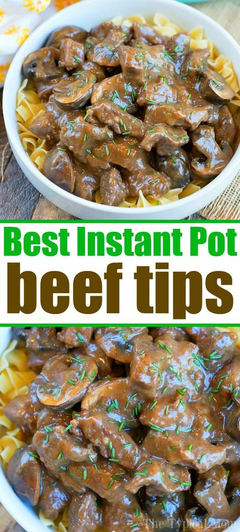 Most Incredible Instant Pot Beef Tips! Most Incredible Instant Pot Beef Tips! This Instant Pot beef tips and mushroom gravy recipe is the bomb! Tender sirloin or stew meat in your pressure cooker packed with flavor everyone will love. Beef Tip Recipes, Smoked Meat Recipes, Easy Meat Recipes, Hamburger Meat Recipes, Pork Meat, Bbq Meat, Crockpot Meat, Grilled Meat, Beef Pieces Recipes