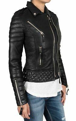 New Women Stylish Slim fit Lambskin Genuine Leather Motorcycle Biker Jacket