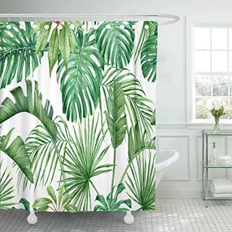 Amazon Com Emvency Shower Curtain Green Leaf Tropical Leaves Monstera Strelitzia Palms Watercolor Frond Wat Tropical Shower Curtains Leaf Curtains Blue Leaves