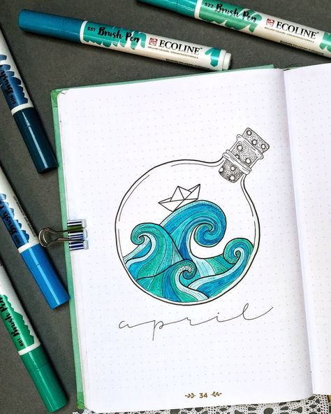 In this post, I'm sharing some amazing April bullet journal cover page and theme ideas that I came across on Instagram.