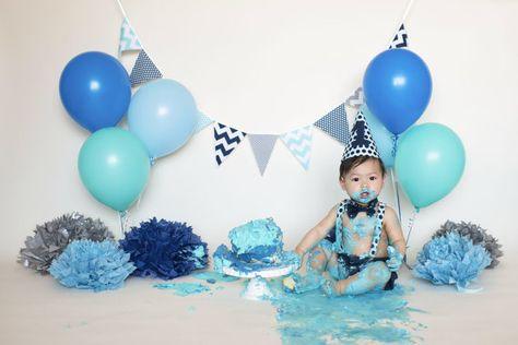 Barnyard theme party 1st birthday cake smash outfit Sundress Handmade 12M upcycled denim overall dress Navy blue striped suspender dress