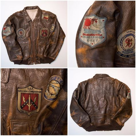 Vintage AVIREX Globalization Challenger Defy England Texas Dallas Military Flight Leather Brown Patch Carrier Jacket with Patches - Japan Lover Me Store