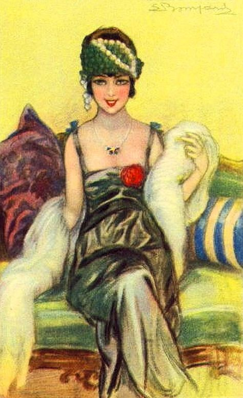 Sergio Bompard: Lovely early 1920s postcard….. DON'T YOU JUST LOVE THE POP OF RED ???………….ccp