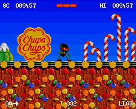 Chupa Chups lollipops featured in Zool on the Sega Genesis