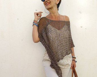 Poncho Cotone Scialle Di Estate Punto Abbigliamento Stile Etsy Knitted Poncho Ladies Poncho Women Cotton Dress