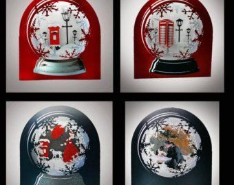Snow Globe Snowy Cottage Template Etsy 3d Cards Snow Globes Christmas Cards To Make