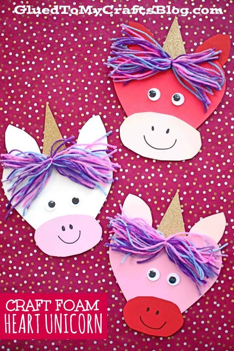Craft Foam Heart Shaped Unicorn Friends - Valentine's Day Kid Craft Idea