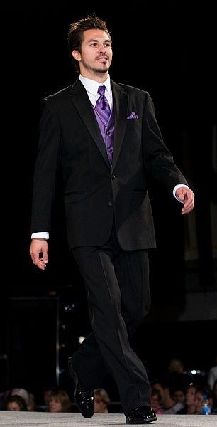 wedding black suit purple tie vest on purple
