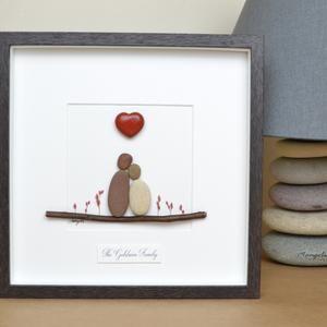 Pebble art picture Personalised gift Pebble art couple valentine/'s gift wedding gift Grandparents gift Pebble art family 2