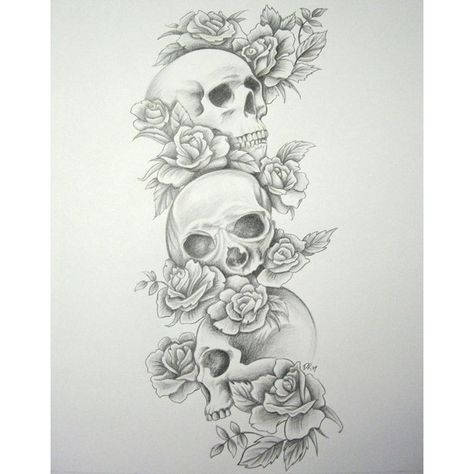 tattoo sleeve designs for girls | Free Download Skull Roses ... | Tat… ❤ liked on Polyvore featuring tattoos