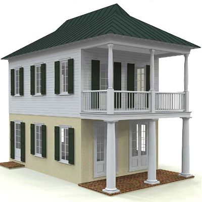 Louisiana Creole Cottage   French  Canadian and West Indies merge  with  tall windows  a wide porch and broken pitch roof  Measures 708 sq  f Louisiana Creole Cottage   French  Canadian and West Indies merge  . New Orleans Creole Cottage House Plans. Home Design Ideas