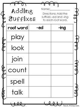 10 Adding Suffixes Printable Worksheets In Pdf File Kdg 2nd Grade