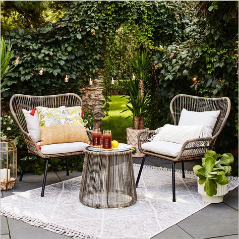 Latigo Rattan Patio Chat Set - Brown - Opalhouse™ patio furniture set includes 2 chairs and 1 round coffee table All-weather wicker patio furniture holds up in any season Outdoor Rugs, Outdoor Spaces, Outdoor Living, Outdoor Decor, Outdoor Planters, Wicker Patio Furniture, Best Outdoor Furniture, Wicker Chairs, Wooden Furniture
