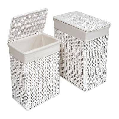 Traditional Laundry Hamper White Wicker Laundry Basket Wicker