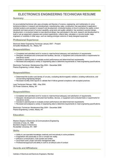Sample Electronics Engineering Technician Resume Electronic Technician Electronic Engineering Time Management Skills
