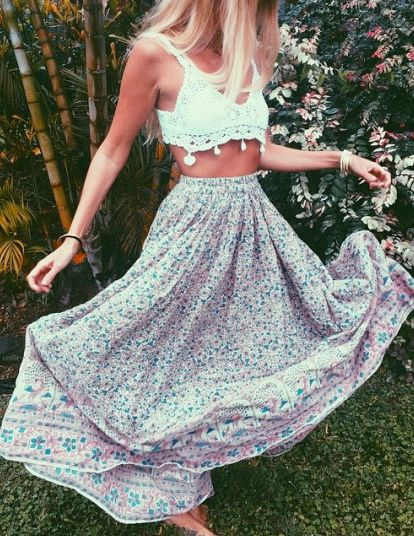 balance a crop top with a maxi skirt for spring and summer