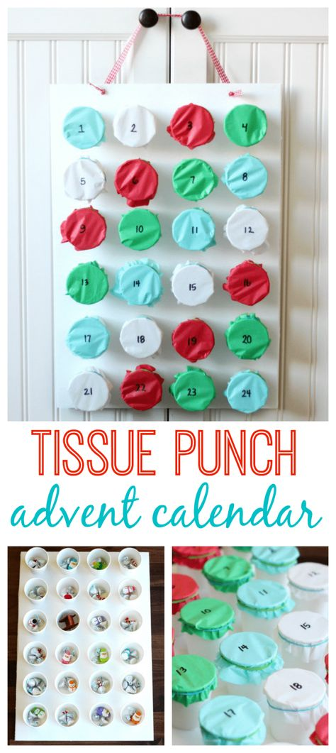 DIY Advent Calendar Made From Cups and Tissue Paper! A simple DIY advent calendar made from paper cups and tissue paper. Kids can break open the tissue each day to find the surprise inside! Advent Calendar Fillers, Wine Advent Calendar, Homemade Advent Calendars, Advent Calendars For Kids, Kids Calendar, Christmas Calendar, Calendar Ideas, School Calendar, Fun Christmas Games