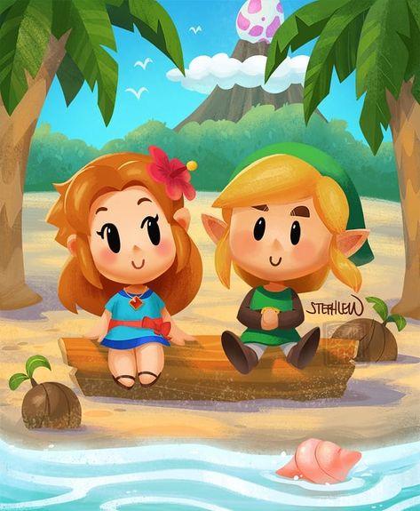 Legend Of Zelda Link S Awakening Art Marin And Link