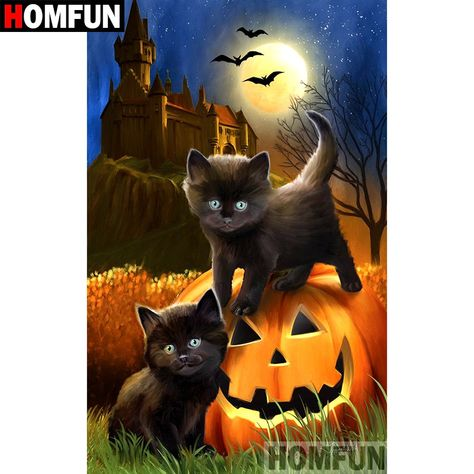 5D Diamond Painting Black Kittens and Pumpkin Kit Offered by Bonanza Marketplace. www.BonanzaMarketplace.com #diamondpainting #5ddiamondpainting #paintwithdiamonds #disneydiamondpainting #dazzlingdiamondpainting #paintingwithdiamonds #Londonislovinit #Halloween #blackcat #pumpkin #jackolanturn