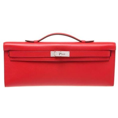 5fc978da91 Pre-Owned Hermes Red Vermillion Swift Leather Kelly Cut 30cm Clutch... (