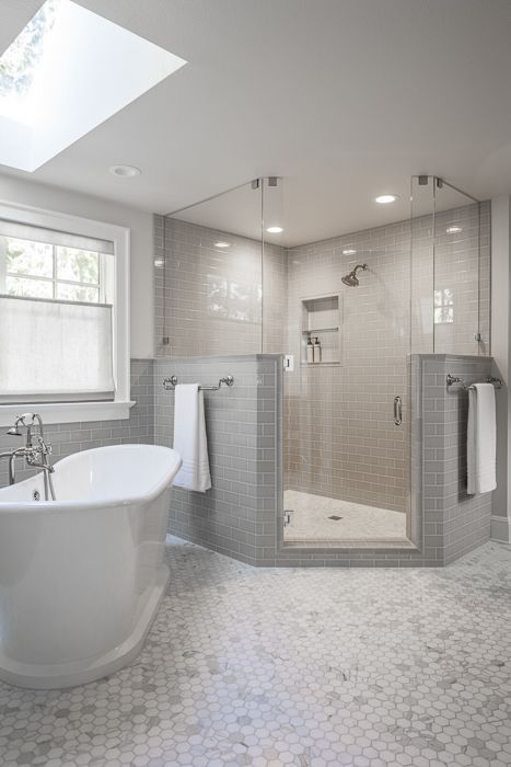 Gray And White Master Bathroom White Master Bathroom Bathroom Interior Design Bathroom Interior
