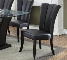 Poundex F1591 Black Faux Leather Dining Chair Set Of 2 Dining Chairs Black Dining Chairs Upholstered Side Chair
