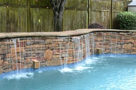 Katy Water Features Photos Houston Waterfalls Raised Spas Stacked Stone Weeping Wall Pool Water Features Stone Pool Pool Waterfall