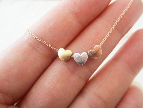 Tiny 3 hearts necklaces gold silver and rose gold hearts on | Etsy