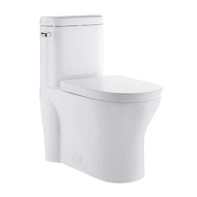 Swiss Madison Monaco 1 28 Gpf Water Efficient Elongated One Piece Toilet Seat Included Lever Location Left One Piece Toilets Modern Toilet Glossy White
