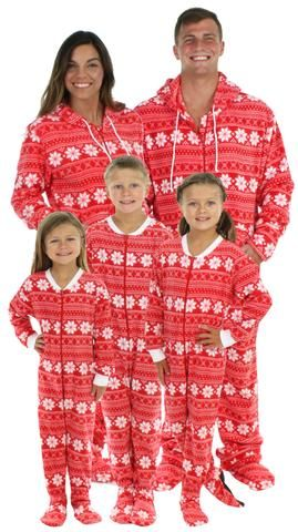 Family Christmas Pajamas With Baby.Family Matching Fleece Red Snowflake Onesie Footed Pajamas