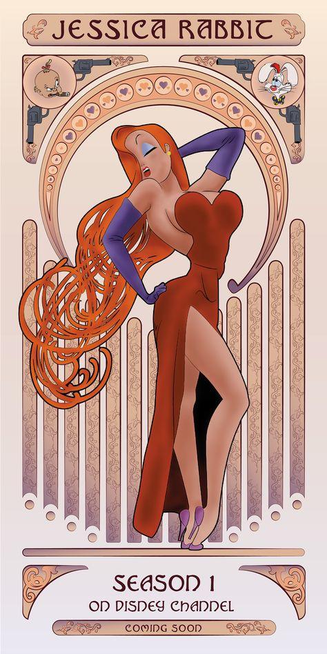 Art Nouveau Poster - Jessica Rabbit