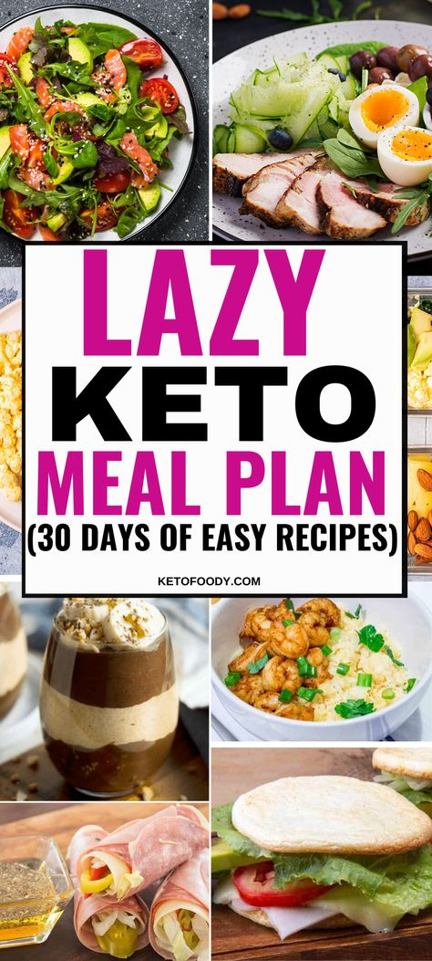 Lazy Keto Meal Plan For Beginners with 30 Days of easy keto breakfast ideas keto lunch ideas keto snacks and keto dinners Perfect for weight loss ketodiet ketomealplan mealplan ketorecipes Easy Keto Meal Plan, Ketogenic Diet Meal Plan, Keto Diet Plan, Ketogenic Recipes, Diet Recipes, Keto Diet Meals, Diet Menu, Chicken Recipes, Keto Taco