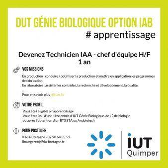 Dut Genie Biologique Iab Par Apprentissage Quimper Technicien Chef D Equipe A Presentation Lettre De Motivation Lettre De Motivation Lettre De Motivation Bts