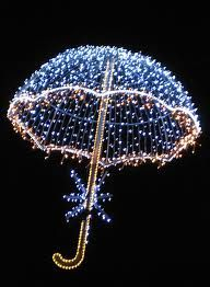 Think festive Mary Poppins. This lit umbrella could work well indoors and out creating warmth and ambiance in any space.
