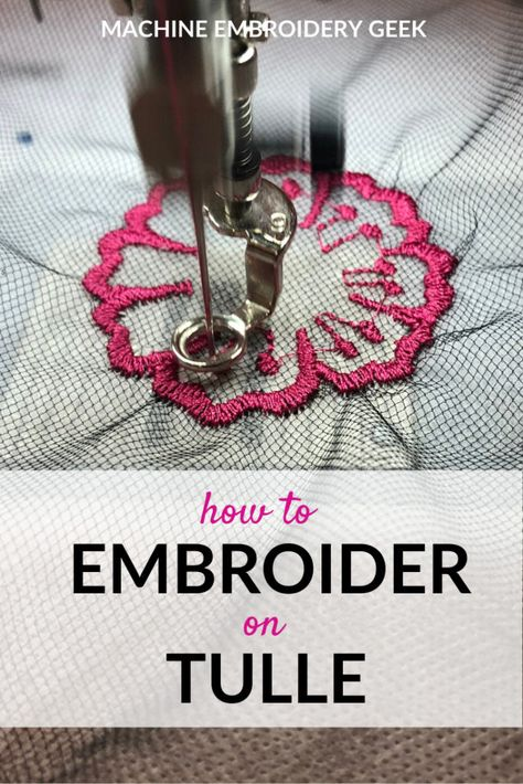 Tulle is not just for princesses and promgoers. When it coes to maching embroidery, it's actually quite versatile. Here's how to embroider on tulle. Used Embroidery Machines, Machine Embroidery Thread, Machine Embroidery Projects, Machine Applique, Embroidery Stitches, Needlepoint Stitches, Embroidery Monogram, Ribbon Embroidery, Embroidery Ideas
