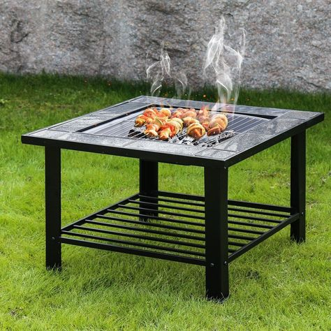 Kinbor 30 Inch Burning Fire Pit Backyard Heater Steel Firepit Bowl With Spark Screen Cover Black Outdoor Decor Fire Pit Bbq Outdoor Table Tops Fire Pit Backyard