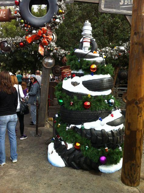 Tire Christmas Tree With Car Parts Christmas Automotive Hoseltonchristmas Xmas Tree Shop Office Christmas Decorations Christmas Crafty