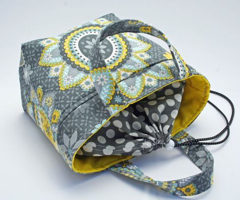 Gray and Yellow Stylish Insulated Lunch Tote Bag / Purse / Bento Box - Eco-friendly - Designer fabric by Sew Much Cuteness