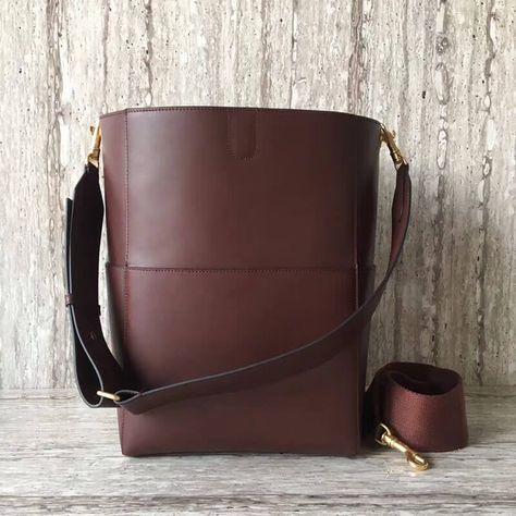 Celine Sangle Bucket Bag in Natural Calfskin Burgundy 2018
