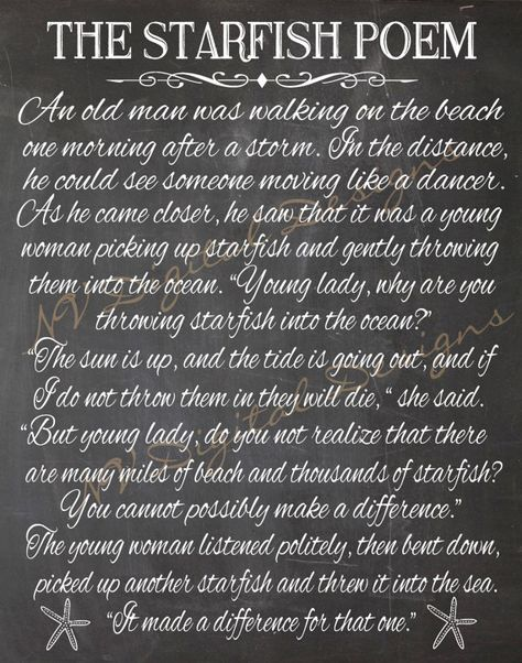 Starfish poem chalkboard- Starfish poem Chalk sign poster- Printable- INSTANT DOWNLOAD 11x14